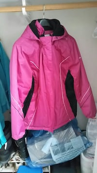 pink and black full-zip jacket