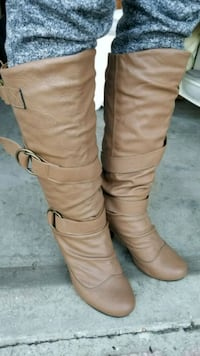 pair of brown leather knee-high boots size 6 Los Angeles, 91605