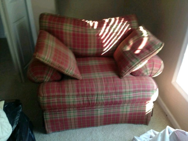 red and white plaid fabric sofa chair