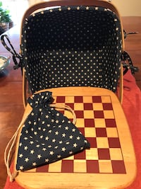 Henn Workshops Patriotic Basket with Checker Board and Checkers Burke, 22015