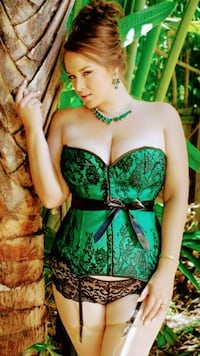 women's green and black floral corset St. Peters, 63376