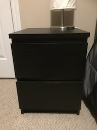 IKEA Malm twin bed frame and chest drawer.