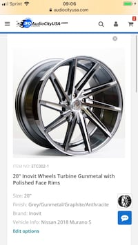 20 inch Nissan Murano rims and tires with tire pressure sensors and tuner lugs only two weeks old ready to install on your car. Silver Spring, 20906