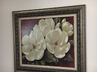 White petaled flower painting with brown wooden frame Boca Raton, 33486