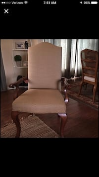 Beautiful side/arm chair. new upholstery, neutral w/ touch of brown and spa blue. upscale chairs from warner  interiors. price shown is for 2 chairs.