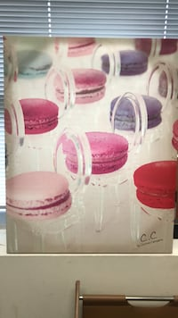 Canvas wall hanging of macaroons