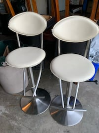 2 Beige High End Adjustable Stools