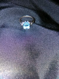 Aquamarine stone on sterling silver ring