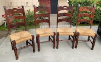 Set of 4 wood and wicker chairs