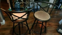 two black metal framed glass top tables Abbotsford