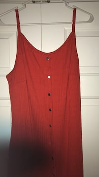 Red Bodycon Button Down Dress