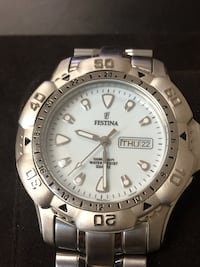 round silver-colored Fossil chronograph watch with link bracelet Roanoke, 24012