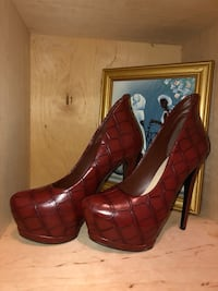 Pair of brown leather platform stilettos Suitland, 20746