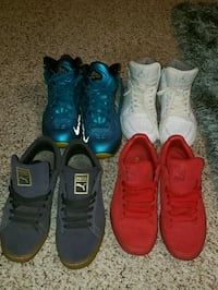 three pairs of assorted-color basketball shoes Garner, 27529