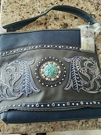 black and blue leather shoulder bag