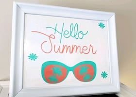 Hello Summer in white frame