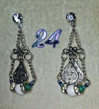 silver and blue gemstone pendant earrings