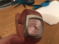 square pink and silver-colored analog watch with brown rubber strap Osoyoos, V0H 1V1