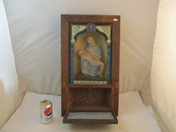 Antique Catholic Last Rites Communion Wood Shadow Box. daab2e79-6583-4af0-8509-530781d288a9