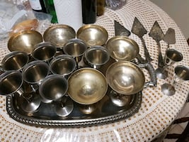 Various silver plated goblets and cups