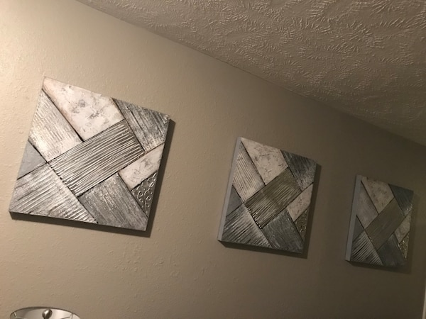 Three-piece abstract paintings