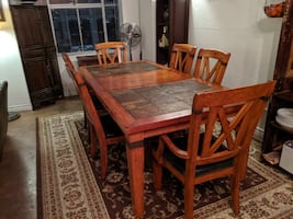 Large wooden kitchen/dining room table set