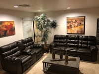 Beautiful brown leather sofa set recliners...!!!