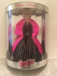 Black, pink and gray barbie doll with box