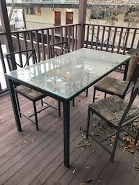 Patio set: glass table and chairs