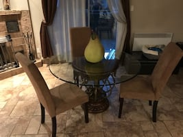 Beautiful glass and solid wood table with 3 chairs
