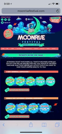 Moonrise Festival 2- Day GA tickets Lorton, 22315