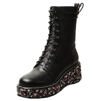 JOSASE JEZ PRONTO LACE UP FLOWER PRINT LEATHER BOOTS IN BLACK