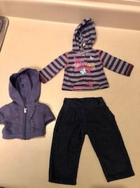 Navy and gray striped pullover hoodie, short-sleeve hooded zip up jacket, & navy corduroys