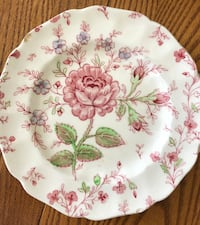 """Bread & Butter Plate Rose Chintz Pink (""""Made in England"""" Stamp) by JOHNSON BROTHERS Altamonte Springs, 32714"""