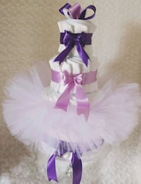 4 tier pink and purple tutu diaper cake Chantilly, 20151