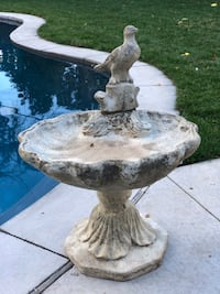 Vintage Pedestal Shell Bird Bath Los Gatos