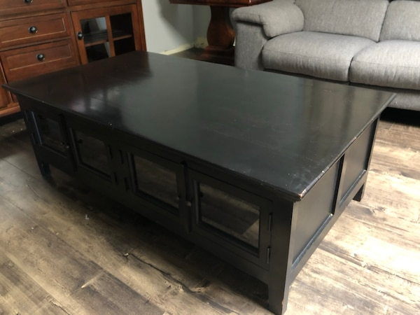 Used Black Wood Coffee Table Bottom Book Storage For Sale In
