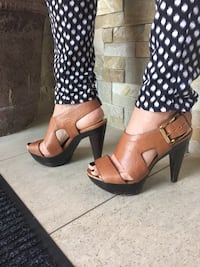 Michael Kors...Pair of brown leather open-toe heeled sandals. Mississauga, L5A