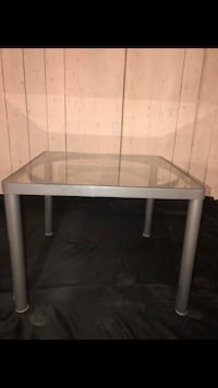 rectangular white wooden table with gray metal base New Tecumseth, L0G