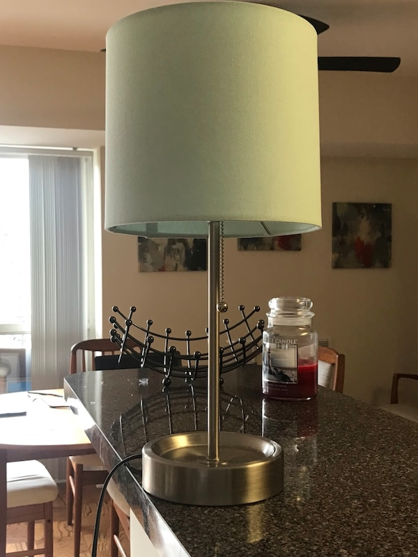 Blue and white table lamp