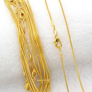 Wholesale 5Pcs/10pcs Silver Plated/Gold Plated 1.0mm Snake Chain Necklace 43cm 5c099c1b-c0cc-444a-a00a-0e0fafb6714e