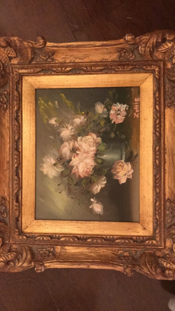 Hand Painted picture with antique frame!