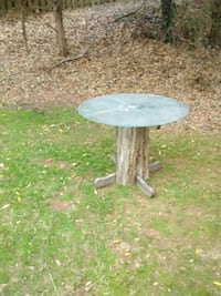 Tree Trunk and glass top table