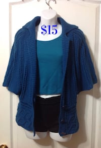 CYNTHIA STEFFE Blue Knit Cardigan Top: Size Medium 539 km