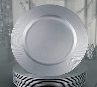 "(FOR RENT) SILVER CHARGER PLATES 13"" Round 160 pcs Shower Wedding Sweet 16 Debut Birthday Party Toronto"