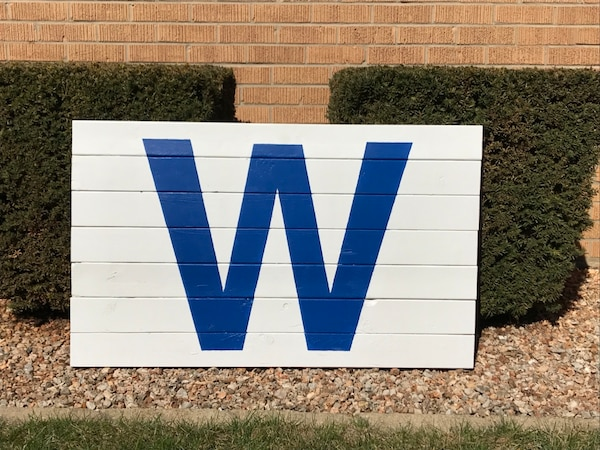 Cubs W Flag Wooden Sign