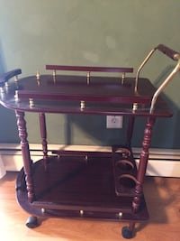 Tea Bar , Rolling wheels with bottle holder and rails
