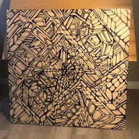 Geometric painting on raw wood .  Calgary, T2T 4M7