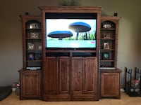 Brown wooden tv hutch Weatherford, 76087