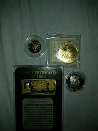 three assorted color of silver and gold coins Xenia, 45385